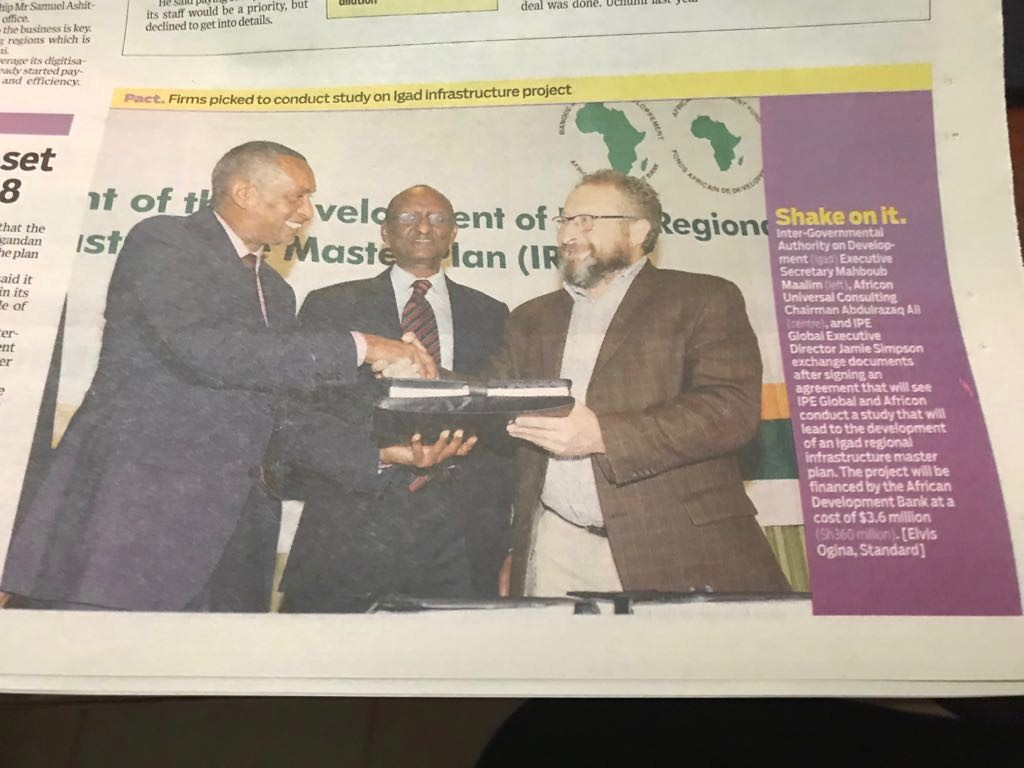 IGAD signs contract for the Development of Regional Infrastructure Master Plan with IPE Global