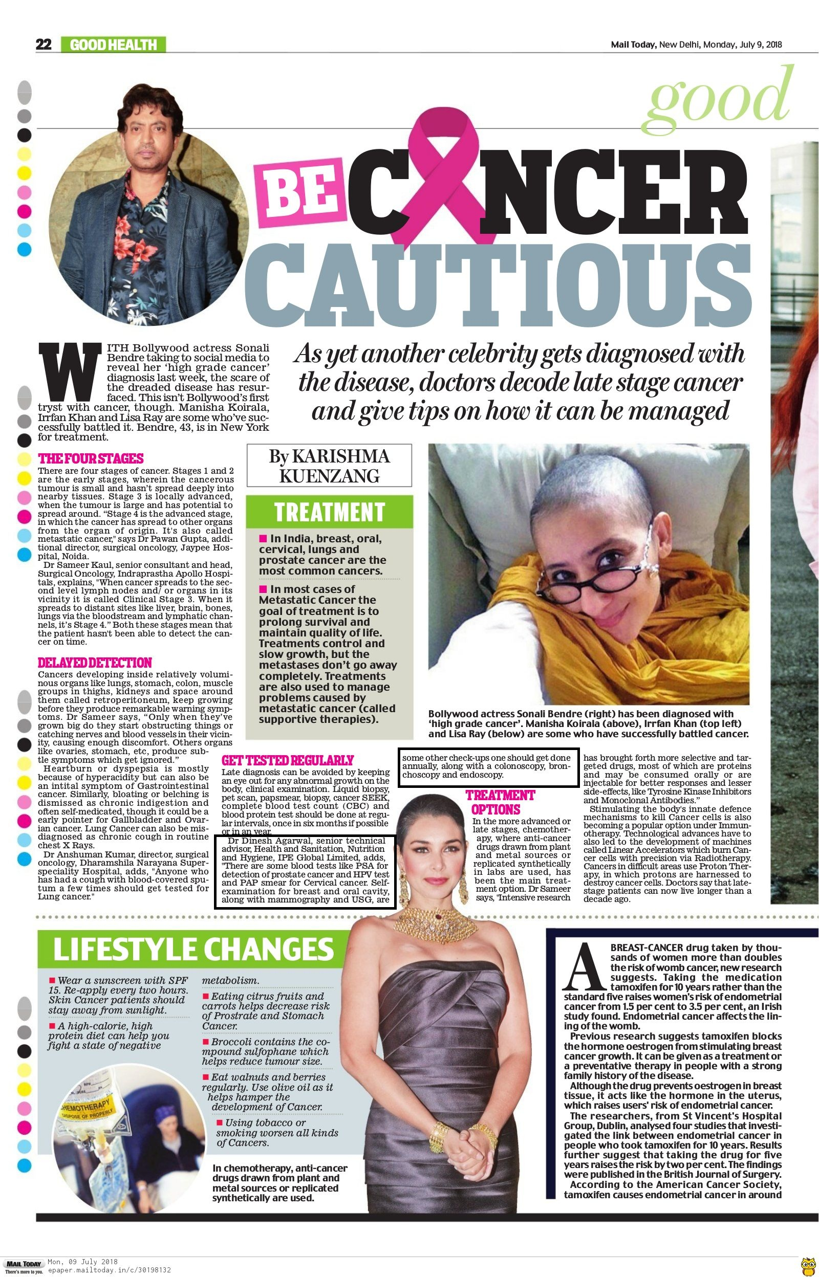 Dr. Dinesh Agarwal features in Mail Today article 'Be Cancer Cautious'