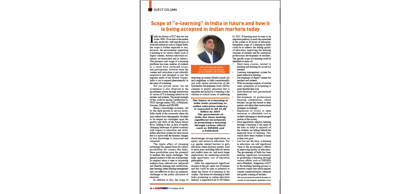 Shalender Sharma features in Career Connect magazine