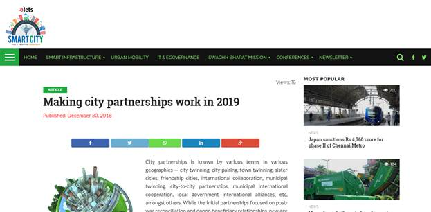 """Exclusive coverage of Anil Bansal & Ram Khandelwal in Elets Smart City Portal on article """"Making City Partnerships work"""
