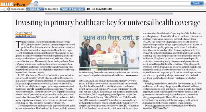 "Dr. Dinesh Agarwal gets featured in The Mint (National Newspaper) on 30th January, 2019 on ""Ayushman Bharat Scheme"""
