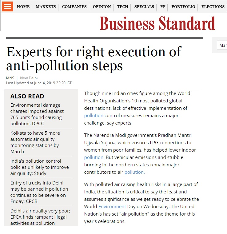 Anand Kumar, Associate Director (Environment and Climate Change) featured in Business Standard