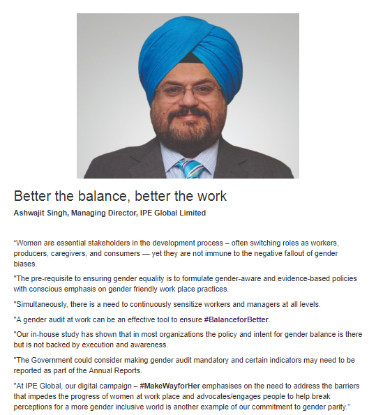 Ashwajit Singh, MD IPE Global features on International Women's Day UN web platform