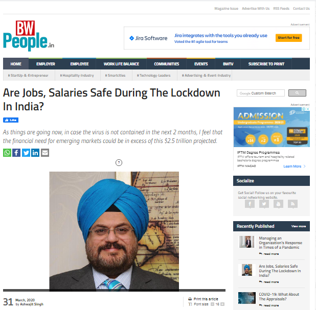 Ashwajit Singh, MD IPE Global exclusively mentioned in BusinessWorld