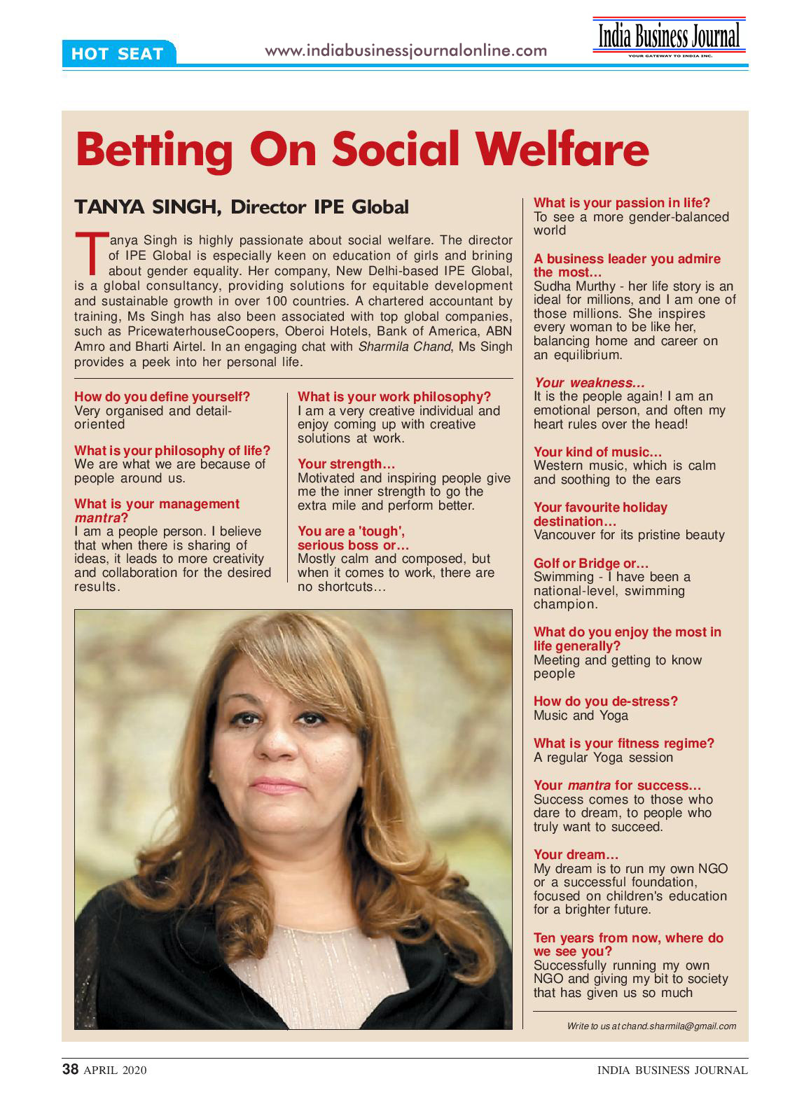 Tanya Singh, Director IPE Global exclusively featured in India Business Journal, April issue