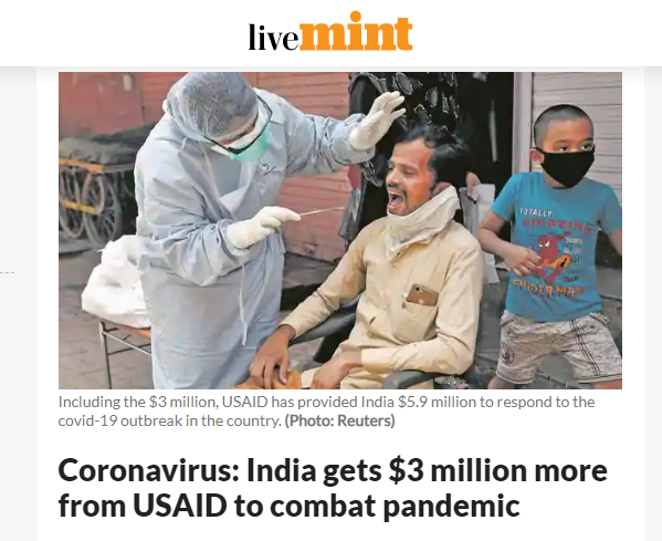 India gets $3 million more from USAID to combat pandemic: liveMint