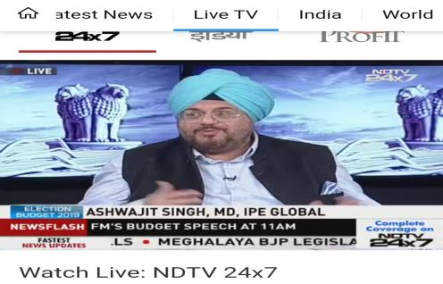 Ashwajit Singh appeared on post budget panel discussions LIVE on Aaj Tak and NDTV India