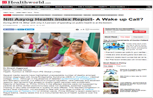 Dr Dinesh Agarwal, Senior Technical Advisor - Health, Nutrition & WASH features in ET Healthworld