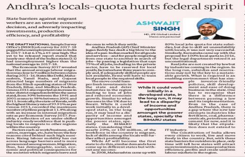 Ashwajit Singh features in Financial Express on AP's 75% Quota legislation
