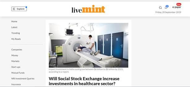 Dr. Dinesh Agarwal's story on the healthcare sector gets exclusively featured in Live Mint