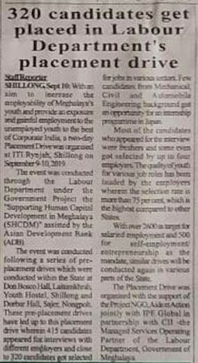 IPE Global's initiative on Meghalaya's Employment Drive gets exclusive coverage in Meghalaya Times