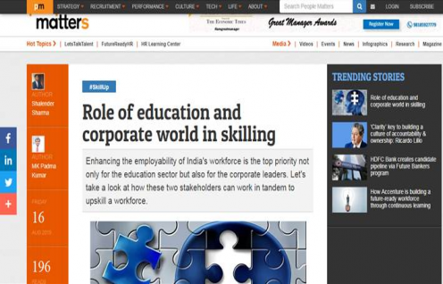 "M.K. Padma Kumar, COO & Shalendra Sharma, Director - ESD featured in People Matters on ""Role of education and corporate world in skilling"""