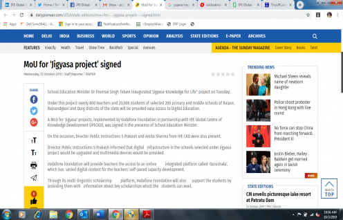 IPE Global's MoU for Jigyasa Project gets exclusive coverage in Daily Pioneer