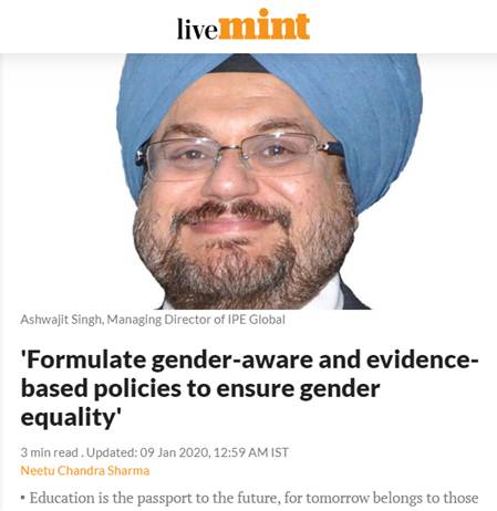Ashwajit Singh, MD IPE Global gets exclusive coverage in The Mint