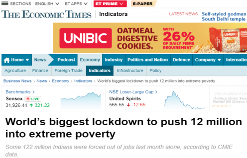 """Ashwajit Singh, MD IPE Global shares his views with Bloomberg featured on Economic Times about """"Biggest lockdown to push 12 million into extreme poverty"""""""