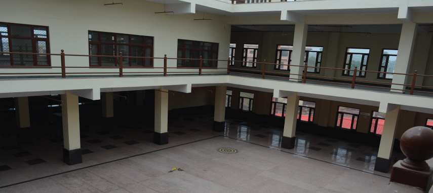The building Block-B covers service room, guard rooms, reception/information counters, waiting hall,, office area, Meditation hall, dormitory, Multi-purpose hall.