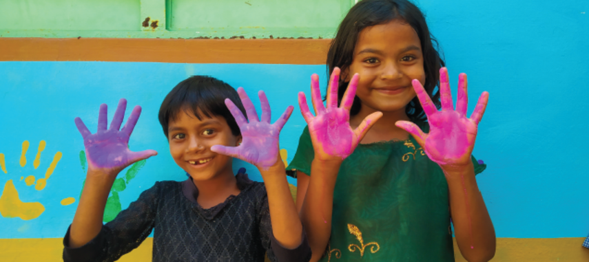 Anganwadi Centres in four blocks of Udaipur district with wall painting and posters about nutrition