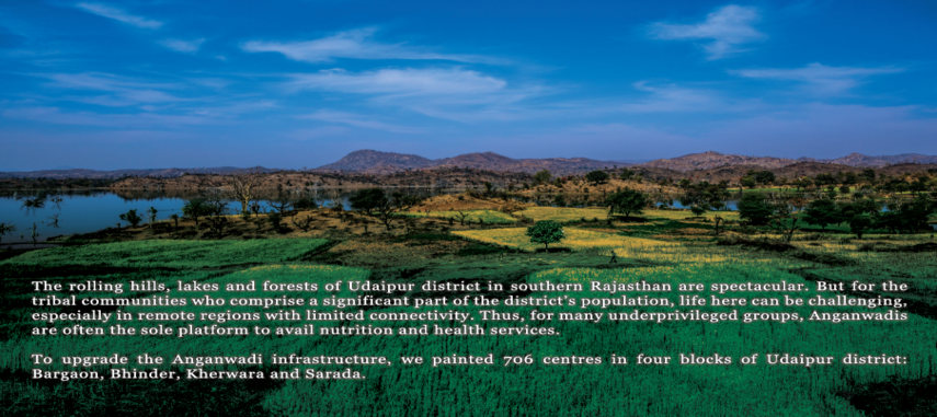 Rolling hills lake and forests of Udaipur district in Southern Rajasthan